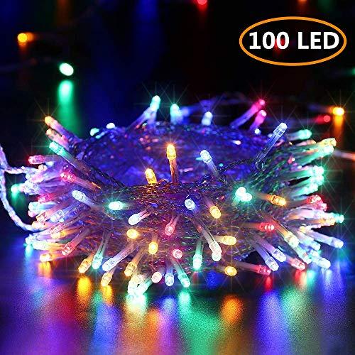100 LED Lichterkette Bunt, BrizLabs Außen Lichterkette Batterienbetriebe 8 Modi Wasserdicht Weihnachtsbeleuchtung mit Timer für Innen Weihnachtsbaum Zimmer Hochzeit Deko, Durchsichtigen Kabeln