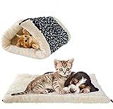 Panier/tapis chaud 2en 1 avec rembourrage en polaire pour chat de la marque UMALL - Niche d'intérieur - Tapis carré rembourré et doux