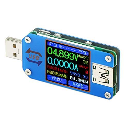 Droking Misuratore di Potenza USB misuratore di Tipo C, Tester di Tensione e Corrente UM25 Tipo C, Display LCD DC 4-24V 5A velocità di Cavi C, capacità di Power Bank, QC 2.0 3.0