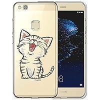 custodia silicone huawei p10 lite gatto case cover bumper