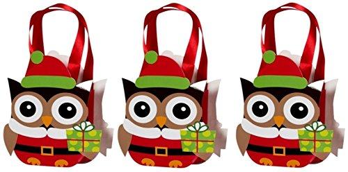 k Geschenk-Tasche Eule Papier braun-rot Eule Weihnachten Präsent-Tasche Geschenkverpackung (Halloween-papier-geschenk-taschen)