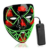 AnseeDirect Maschera Halloween LED Mask Cosplay LED Costume Maschera Horror con El Wire Light Up Mask per Vacanze Party Halloween Idea Regalo