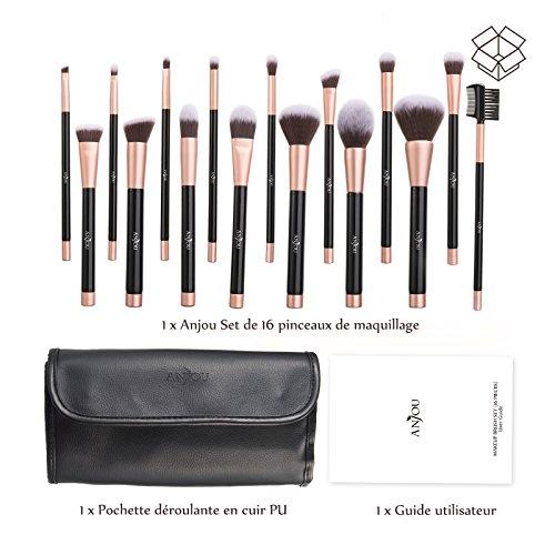 Préférence Pinceaux Maquillage Anjou Kit de 16pcs, Doux et Sans Cruauté  DG31