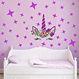 FLYFISH Colorful Flower Animaux Licorne Stickers muraux pour Chambre d'enfant Bonne fête des Filles Chambre fenêtre Nursery décor Cadeau d'anniversaire (Unicorn04)