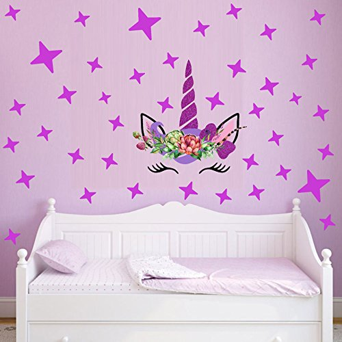 Flyfish Magic Unicorn Wall Stickers Colorful Animals Horse Stars Tatuajes de Pared para niños Girls Room DIY Poster Wallpaper Home Decor