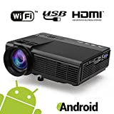 Maxesla Android Beamer Wifi, MAXESLA 1080P HD 1500 Lumen LCD Video Projektor Unterstützung HDMI USB VGA AV TF Häfen Mini Tragbar Projektor Multimedia Heimkino Home für zu Hause, Party Unterhaltung, Famili enentertainment
