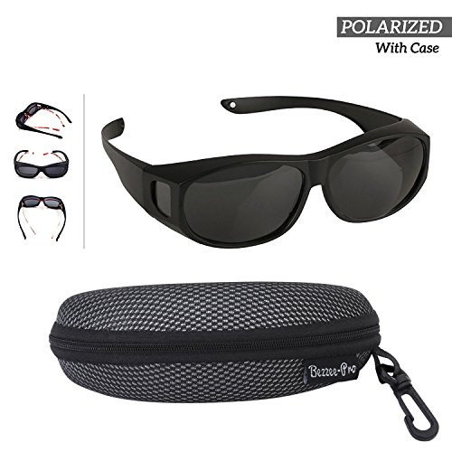 Sonnenbrille Überziehbrille für Brillenträger; Polarisiert; Männer & Frauen Radfahren & Autofahren gegen Blendung - leicht - komfortabel - Sonnenüberbrille über normale Brillen (Für Billig Frauen Boots Schwarz)