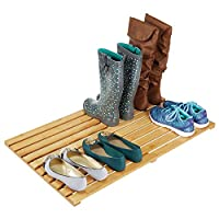 mDesign Entryway Door Mat - Rectangular Shoe Mat for Inside and Outside Use - Bamboo Floor Mat for Dirty Shoes and Trainers
