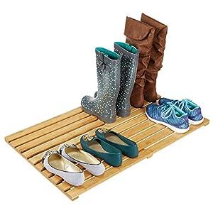 mDesign Tarima para baño ecológica – Práctica alfombra de bambú grande – Alfombrilla de baño, pasillo o garaje – color…