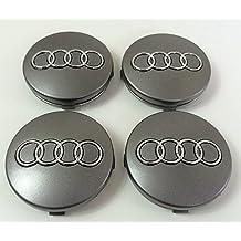 CAR PARTS Tapacubos 4X con Logo para Audi, diámetro Desde 60mm, reemplazo para Clavos