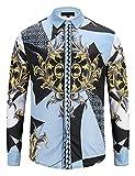 Pizoff Herren Luxus Palace Still Fashion langärmliges Hemd Hip-Hop Tops mit Golden Floral Schild Medaille Druckmuster - Y1792-72 - L