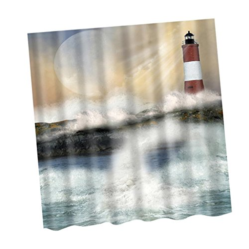 ELECTROPRIME Bathroom 3D Fabric Lighthouse Pattern Shower Curtain with 12 Curtain Hooks