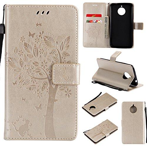 Guran PU Leder Tasche Etui für Motorola MOTO E4 Plus Smartphone Flip Cover Stand Hülle und Karte Slot Case-gold