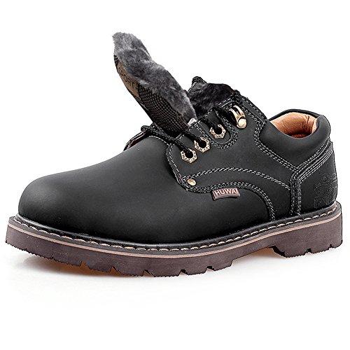 Rismart Hommes Cuir Véritable Chaussures à Lacets Industrie Chaussures de Travail 8566 noir-fourrure