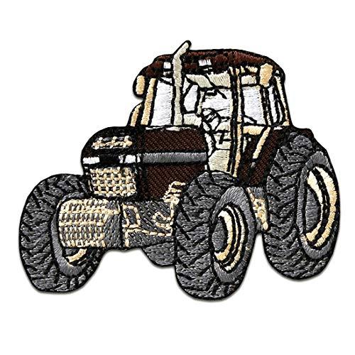 Aufnäher/Bügelbild - Traktor Kinder - braun - 6,5x5cm - Patch Aufbügler Applikationen zum aufbügeln Applikation Patches Flicken