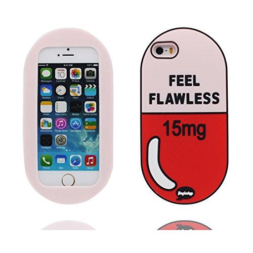 iPhone 5 Hülle, Cover iPhone 5S 5C 5G Handyhülle, Durable TPU Skin Gummi weich Shell iPhone SE case, Staub Kratzer beständig (Cartoon 3D Pill Cute) # 1