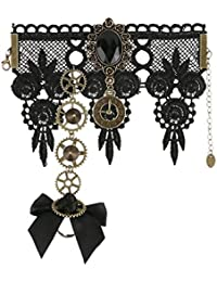 50bc7ba5ef90 dPois Pulsera con Anillo de Dedo Encaje Elegante Gothic Lolita Retro  Steampunk Traje Gótico Fiesta Halloween Cosplay Role Costume Gear…