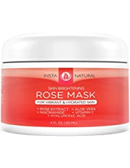 InstaNatural Rose Facial Mask  - Best Natural Skin Brightening, Skin Clearing, Moisturizing  & Pore Reducing Remedy for Face - Good for Dry & Oily