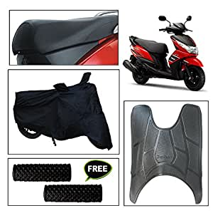 Vheelocity Combo of 72604 Black Motorcycle Body and Seat Cover with Foot Mat and Free Acupressure Grip for Yamaha Ray