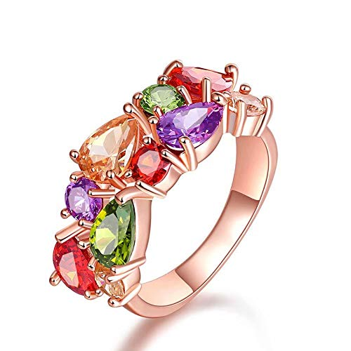 Doyeemei Moda anillo boda fiesta colorido circón cristal ropa de mujer