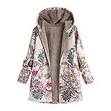 Bellelove Manteau à capuchon pour femme Taille plus large à manches longues en coton à manches longues en lin moelleux à capuche en fourrure pour femmes (EU 40 / Asie XL, F)