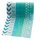 Washati 6 Rollen Washi Tape (je 10m) - Papier Dekroband (Mint-Pfeil-Doppelpfeil-Punkte-Sternpunkte-Grosse Punkte-Bubbles)