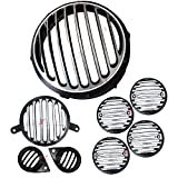 #6: AllExtreme Ultrafinished Heavy Metal Headlight Grill, Indicator, Eyes and Tail Light Grill for Royal Enfield Classic 350