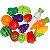 Kotak Sales Kids Fruits & Vegetables Realistic Half Slice Kitchen Set Knives Cutting Board Toy Pretend To Play Set Multicolor Learning Tool (18 Piece Set)