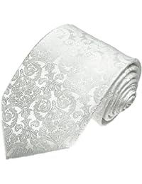 Lorenzo Cana Cravate en soie italienne 100% soie blanc floral mariage soirée 25007