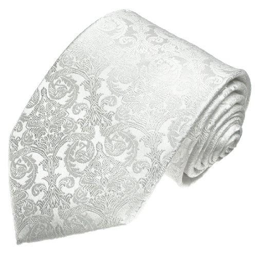 LORENZO CANA - Hochwertige Marken Krawatte aus 100% Seide Weiss - Fest Trauung Hochzeit Bräutigam Hochzeitskrawatte - 25007