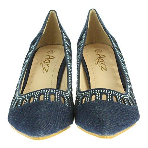 Femmes Dames Soir Mariage Fête Bal de promo De mariée Milieu Talon de chaton Courts Sandales Chaussures Taille Bleu