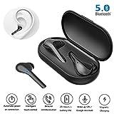 HONFAY Écouteurs sans Fil Bluetooth 5.0, Oreillettes TWS Mini Casque Stéréo Écouteurs Intra-Auriculaires Cordless 20H Batterie Appariement Automatique Suppression du Bruit Boîte de Charge (Noir)