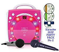 PINK Portable Karaoke Machine & CD Player - PARTY PACK 2 (2 Mics + 3 karaoke CD's) Home Disco Party Light �?? 2x Girls wired karaoke microphone + 56 Karaoke SONGS (3 CD ' S) CDG + Format (Connect to a TV to display lyrics from CD) - Echo - Auto Voice Cont