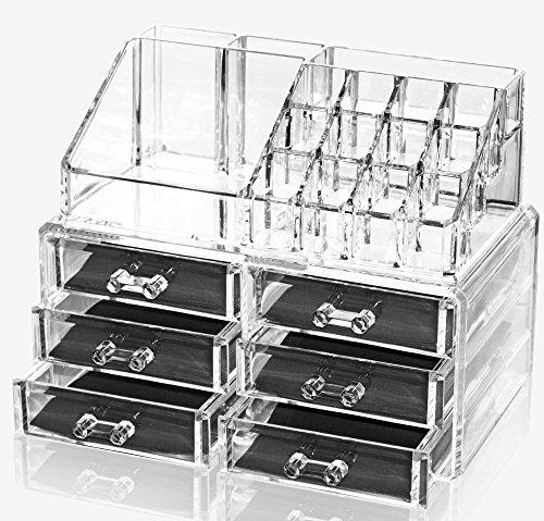 Oxid7® Organizer für Kosmetik Acryl | Aufbewahrungsbox für Make Up und Schmuck | Schmuckkästchen | Schubladenbox Schminke - 18,6x24x15 cm - 16 Fächer mit 6 Schubladen