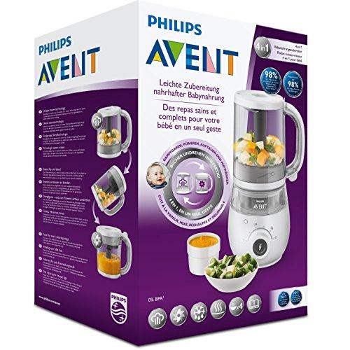 Philips Avent 4-in-1-Babynahrungszubereiter SCF883/01, Dampfgaren und Mixen, 4 Mahlzeiten, weiß - 6