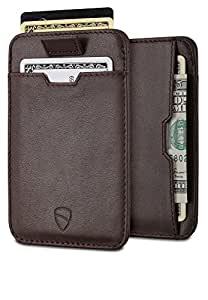 Chelsea Slim Card Sleeve Wallet with RFID Protection by Vaultskin - Top Quality Italian Leather - Ultra Thin Card Holder Design For Up To 12 Cards (Brown)