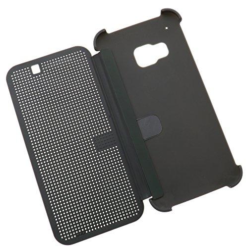 Für HTC One M9 2015 Dot Matrix View Book Premium Hülle Tasche Smart Case Grau (Dot Grau Taschen)