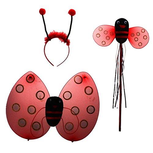 Marienkäfer Ladybird Kinderkostüm + Zauberstab + Stirnband + rock Für Kinder Mädchen Halloween - 3pcs ohne Rock, Eine Grösse passt allen