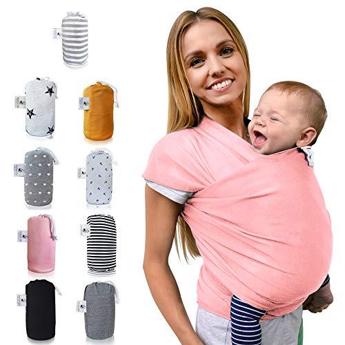 Fastique Kids® Tragetuch - elastisches Babytragetuch für Früh- und Neugeborene inkl. Baby Wrap Carrier Anleitung - Flamingo Pink