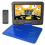 9.5'' Tragbarer DVD-Player, 5 Stunden Akku, schwenkbaren Bildschirm, unterstützt SD-Karte und USB, mit Spiele-Joystick, Auto-Ladegerät--Blau