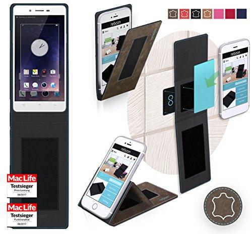 reboon Hülle für Oppo Mirror 5 Tasche Cover Case Bumper | Braun Wildleder | Testsieger