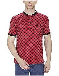 Pintapple Printed Ultra Premium Cotton Lycra Half Sleeve Henley Neck T-Shirt For Men