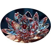 Cristal de cuarzo rojo Cristal de loto piedras naturales y minerales Feng shui Esfera Cristales flores