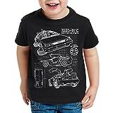 style3 DMC-12 Cianografia T-Shirt per Bambini e Ragazzi Ritorno Futuro, Colore:Nero;Dimensione:128