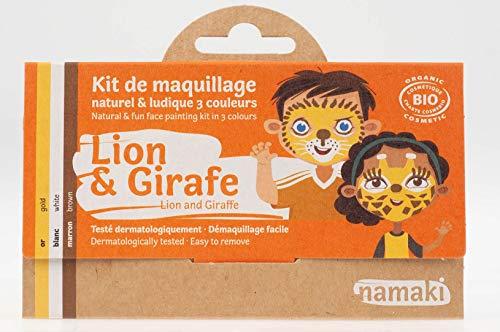 Kit - 3 Farben für das Gesicht - Löwe und Giraffe - Mit Pinsel - Natürliche und hypoallergenen Farben - 7,5 g ()