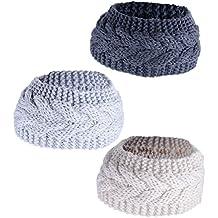 3 pcs Diadema Mujer de Punto Turbante para Mujer Cinta para el Pelo Banda Headband Elástico Invierno Accesorios para el Pelo (Gris oscuro&Gris claro&Beige)