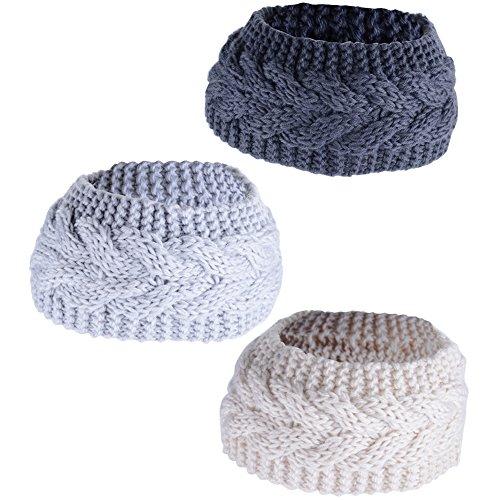 3 Stück (Dunkelgrau + Hellgrau + Beige) Damen Stirnband Headwrap Kopfband Haarband Winter Gestrickt HäkelarbeitKopfbedeckungen Ohr Warm (Klassisches Stirnband)