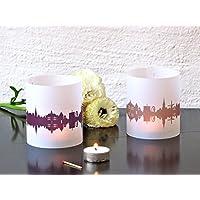 KALKAR Skyline Stadt Windlicht, Hochzeitsdeko Tischlicht personalisierbar, 2er Set Lichthülle Teelicht Geschenkidee Brautpaare Mitbringsel von 44spaces
