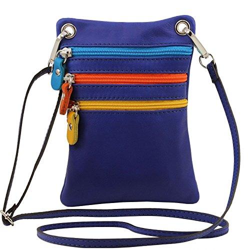 Tuscany Leather TL Bag Tracollina in pelle morbida Cognac Blu