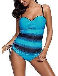 dc945e194 DOKOTOO Womens Padded Bandeau Tankini Set 2pcs Color Block Striped Swimsuit